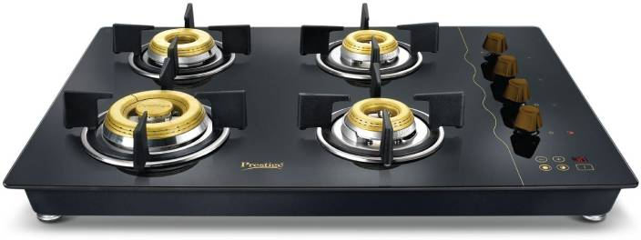 Prestige Gold Hobtop PHTG - 04 E Series Glass Automatic Gas Stove  (4 Burners) /chhayaonline.com